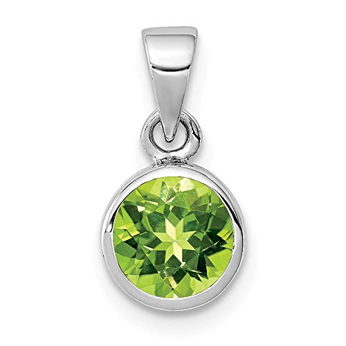 925 Sterling Silver Green Peridot Round Pendant Charm Necklace Gemstone Fine Jewelry Gifts For Women For Her