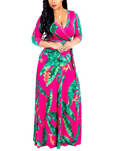 GINVELL Women's V Neck 3/4 Sleeve Digital Graffiti Printed Party Long Maxi Dress with Belt Rose