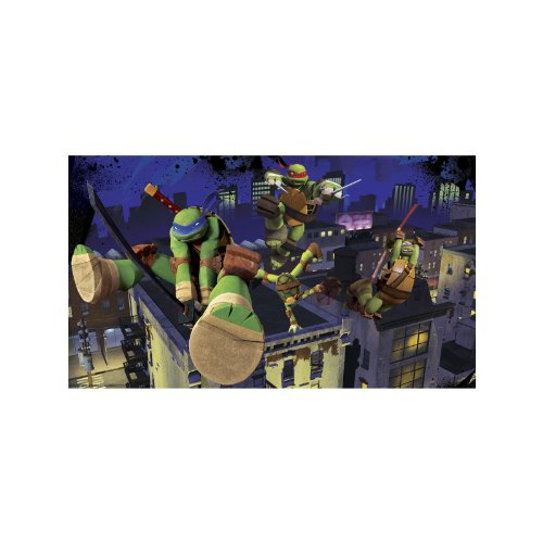 RoomMates Teenage Mutant Ninja Turtles Cityscape Chair Rail Prepasted Mural 6' x 10.5' - Ultra-strippable by RoomMates