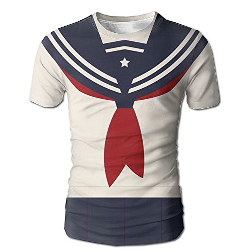 Yoizora Sailor Suit Unisex Basic Man's T-shirt Short Sleeve Crewneck Cute Tshirt For Boy Dating (Sailor Suits For Men)