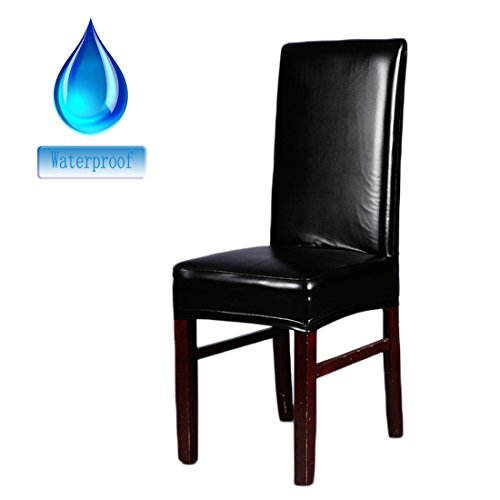 Deisy Dee Solid Color PU Leather Stretch Waterproof Chair Protector Covers For Dinging Living Room Chair C051 (black) (Chair Slipcovers Kitchen Table)