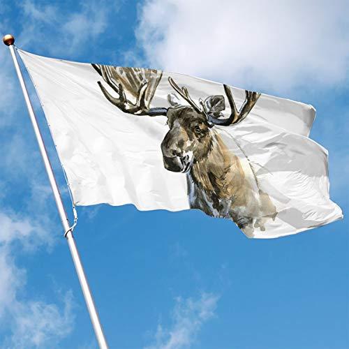 Moose Outdoor Wall - YUANSHAN Home Garden Flag Moose Art Polyester Flag Indoor/Outdoor Wall Banners Decorative Flag 3' X 5'