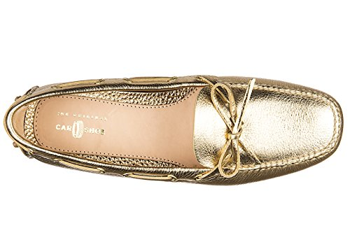 Car Shoe mocassini donna in pelle originale daino drive oro