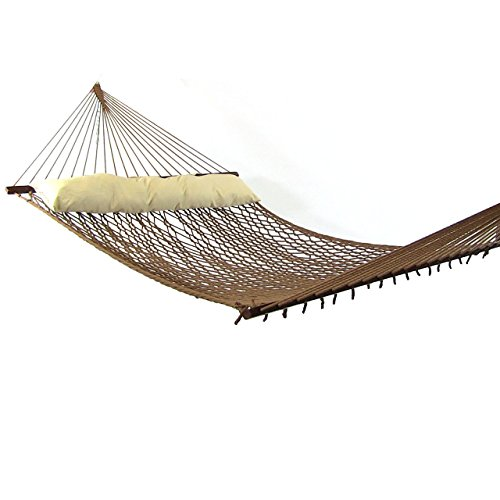 419SMsRLkuL - Sunnydaze 2 Person Polyester Rope Hammock with Spreader Bars and Pillow, Brown, 450 Pound Capacity