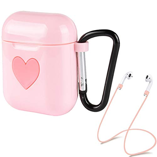 Exbeta Lovely Heart Logo Shock Proof Protective Case Compatible For Apple Airpods Charging Box Case Dust Plug Cover Soft Sleeve Accessories Kits Wireless Headphone Anti-lost Strap Keychain Hook (Pink)