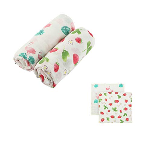 - Muslin Swaddle Blanket Baby Receiving Blanket 2 Pack Flamingo & Strawberry Print Baby Shower Gift Swaddle wrap 47x47inch +2pcs washcloth (for Girls)