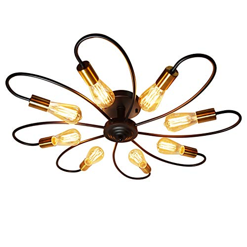 Ceiling Light Fixture, FINXIN 8 Lights Semi Flush Mount Pendant Light, Mid-Century Metal Sputnik Chandelier Light, Starburst Lighting for Bathroom Bedroom Kitchen Bar Hallway and Dining -