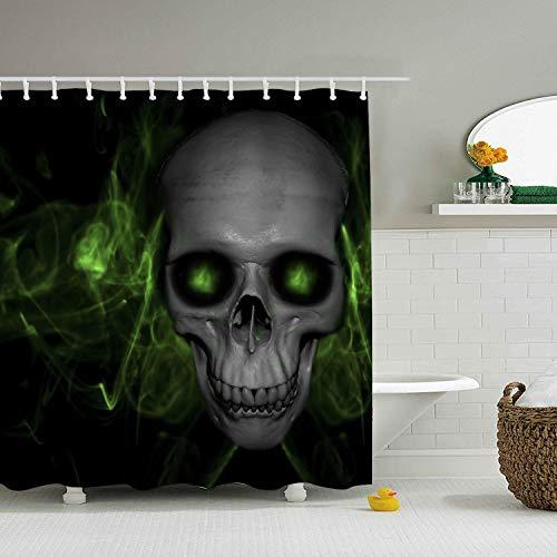Ranhkdn Shower Curtain,Skull with Green Fog Waterproof Polyester