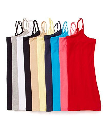 Unique Styles 10 Pack Girls Teens Basic Camisoles Juniors Cami Tank Tops (Large, 10-Pk Assorted Colors) (Shirt Strap Spaghetti Girls)