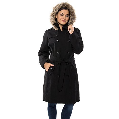 alpine swiss Womens Wool Parka Jacket Removable Fur Trim Hood Belted Trench Coat BLK 3XL