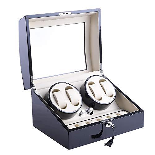 udgtee XTELARY4+6 Automatic Rotation Wood Watch Winder Storage Display Case Box Black Wood Shell Leather Pillow 2 Motors (R2462B)
