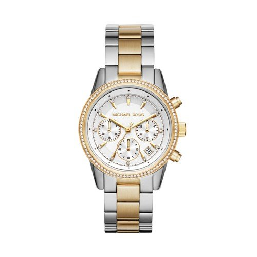 Michael Kors Women's Ritz Silver-Tone Watch - Michael Gold White Kors And