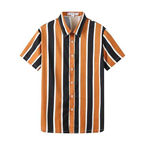 (APRAW Mens Fashion Short Sleeve Casual Slim Fit Vertical Striped Button Down Shirts (Orange, XXX-Large))