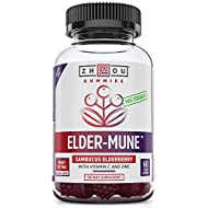 Elder-Mune Sambucus Elderberry Gummies - Antioxidant Flavonoids, Immune Support Gummy Vitamins, Zinc Supplement & Vitamin C Supplement