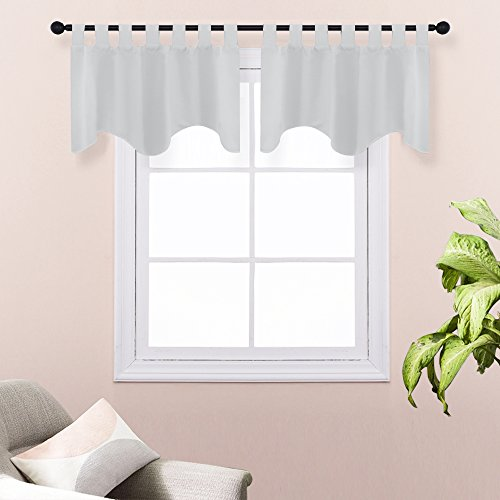 Blackout Tiers Window Curtain Valance - PONY DANCE Home Decor Natural Scalloped Valances Soft Window Panels for Kitchen Bedroom Living Room, 52