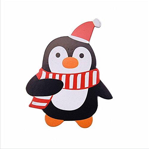 Braceus 50Pcs Cute Penguin Santa Claus Snowman Christmas Candy Lollipop Paper Cards Gift Decor Penguin