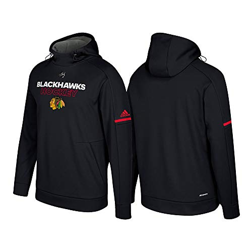 adidas Chicago Blackhawks NHL Men's Black Authentic Climawarm Pro Player Hoodie