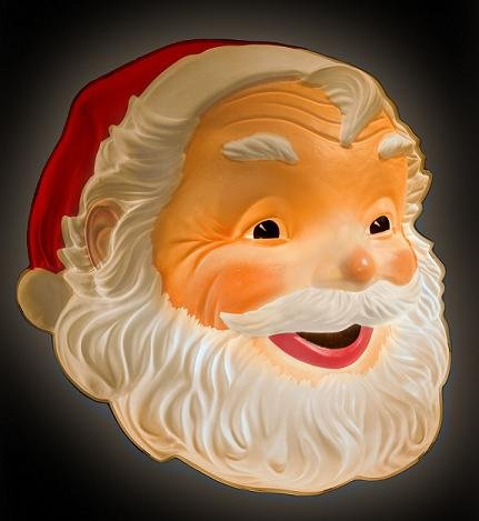 Outdoor Lighted Plastic Santa Claus - 1
