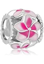 New Sale Cheap Jewelry Filigree Pink Flower Love Enamel Charm Beads Fit Pandora Charms Bracelet Gift