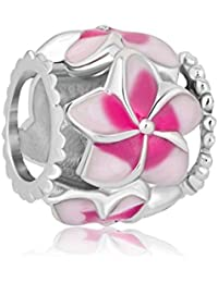 Orchid Flower Love Enamel Charm Beads Charms For Bracelets