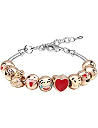 Bracelets for Teen Girls MANBARA Beaded Bracelet Cute Emoji Charm Bracelet for Kids Adjustable Length Heart Enamel Faces Christmas Birthday Jewelry Gifts