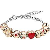 Bracelets for Teen Girls MANBARA Beaded Bracelet Cute Emoji Charm Bracelet for Kids Adjustable Length Heart Enamel Faces Christmas Birthday Jewelry Gifts