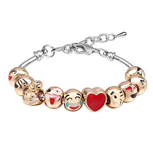 MANBARA Bracelets for Teen Girls Beaded Bracelet Cute Emoji Charm Bracelet for Kids Adjustable Length Heart Enamel Faces Christmas Birthday Jewelry Gifts -