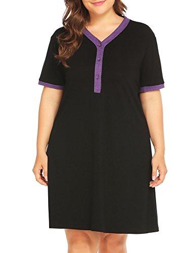 Vansop Women Plus Size V-Neck Short Sleeve Maternity Breastfeeding Night Dress XL-5XL