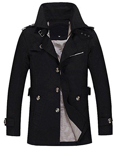 Classico Casual Uomini Ouye Cotone Nero Giubbotto Outwear Cappotto gY75q
