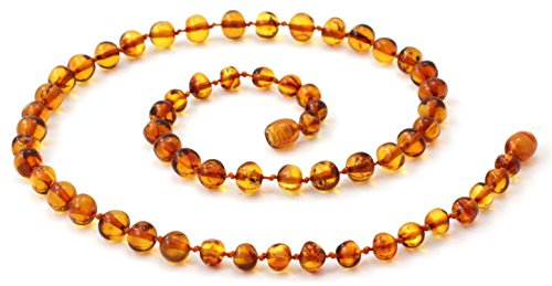 BoutiqueAmber Baltic Amber Necklace for Adults - Size 17.5 inches - Suitable for Women and Men - Polished Cognac Amber Beads (17.5 inches, Cognac) ()