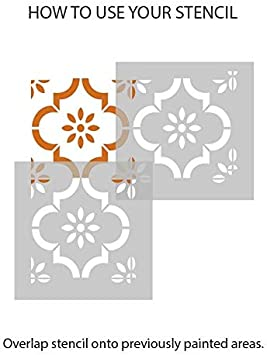 6 inches Jannah Moroccan Flower Tile Stencils for Painting Walls and Floors Custom Sizes Available