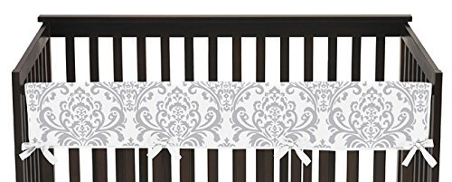 Sweet Jojo Designs Baby Boy or Girl Unisex Long Front Rail Guard Teething Cover Protector Crib Wrap for Pink and Gray Elizabeth Collection