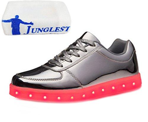 (Present:kleines Handtuch)JUNGLEST® 7 Farbe Wechseln USB aufladen LED-Licht Leuchtend Mode Sportschuhe Freizeitschuhe Outdoorschuhe Laufschuhe Schuhe Sneaker f Silber