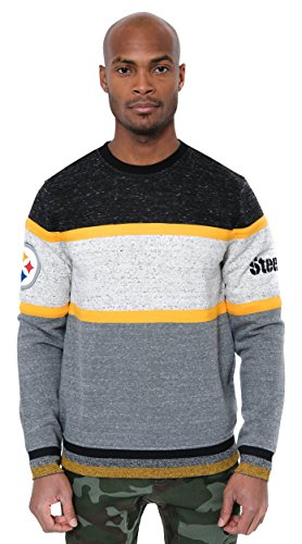 ICER Brands Adult Men Fleece Sweatshirt Long Sleeve Shirt Block Stripe, Team Color, Black, Large
