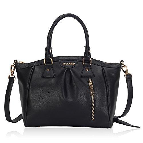 Hynes Victory Designer Women Tote Bag Shoulder Handbag Black (Designer Black Handbag Purse)