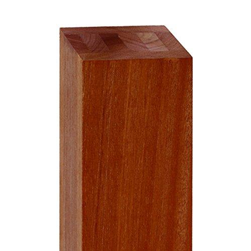Balau Wood - Batu or Balau Mahogany Exotic Wood Fascia Mount Post for Cable Rail Deck System, 4 x 4 x 42