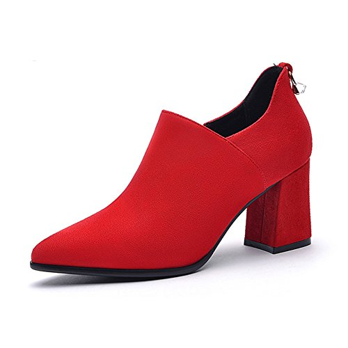 LIANGJUN Ankle Boots Women High Heels Shoes, 6 Sizes Available, 2 Colors (Color : Black-EU36=UK4.5=L:230mm) Red-EU36=UK4.5=L:230mm