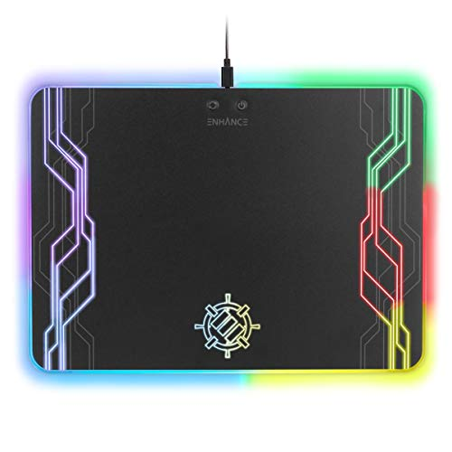 ENHANCE LED Gaming Mouse Pad Hard Large Surface - 7 RGB Light Up Modes, Lighting Brightness Controls with Transparent Decals & Edges - Ambient Desktop Lighting & Accurate Tracking ()