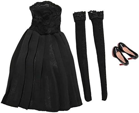 Dovewill 全2種類 1/6スケール ストラップレス ドレス ストッキング 黒  12インチ女性フィギュア対応 人形 アクセサリー  - ハイヒール付き