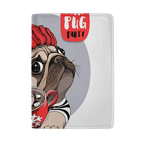 Lovely Adorable Beige Puppy Pug Blocking Print Passport Holder Cover Case Travel Luggage Passport Wallet Card Holder Made With Leather For Men Women Kids Family -
