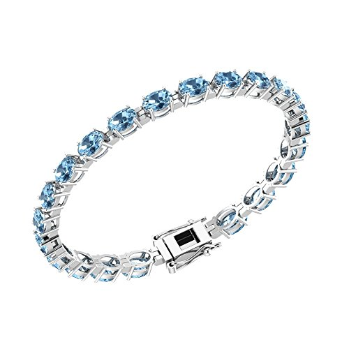 Oval Topaz Jewelry Box - Solid Sterling Silver 6x4mm Oval Cut 10.77 CTW Sky Blue Topaz, Brilliant Sparkle Tennis Bracelet for Women, Box Chain with Safety