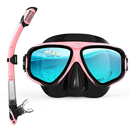 (COPOZZ Snorkel Mask, Snorkeling Scuba Dive Glasses, Free Diving Tempered Glass Goggles - Optional Dry Snorkel with Comfortable Mouthpiece (4911-Pink Set))