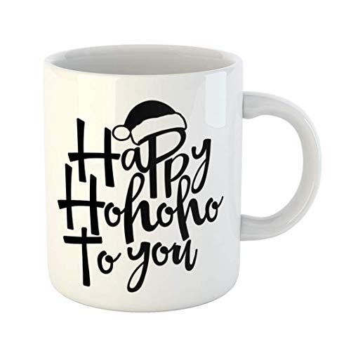 Fabri.YWL 11 OZ Coffee Mug Happy Ho to You Phrase for Christmas Lettering Xmas Greetings Good Scrap Booking Press Holiday Quotes White Ceramic Glossy Tea Cup,Motivational Mug,Fun Mugs,Funny ()