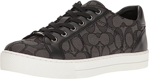Coach Womens Paddy Low Top Lace up Fashion Sneakers, Smoke/Coal/Black, Size (Coach Sneakers)