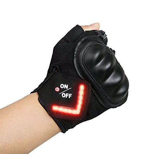 LAFEINA Cycling Gloves, Mountain Bike Gloves with LED Turn Signal Lights, Half Finger Outdoor Gloves with Indicator Light for Riding, Gym, Sports (Black, L)