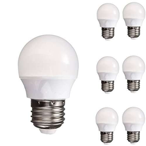 KINGSO Pack of 6 E26 3W 8 LED Bulbs 25W Incandescent Bulb Equivalent 200lm Pure White 6000K Not Dimmable 2835 SMD Globe Ball Style Light Energy Saving Lamps AC 110-120V