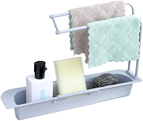 Hanging Telescopic Sink Holder Drying Rack, Expandable Storage Drain Basket Sponge Soap Holder Drainer Draining Basket Gray
