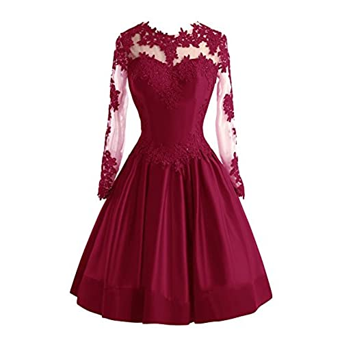 Bess Bridal Womens Sheer Lace Long Sleeve Short Prom Homecoming Dresses US8 Burgundy