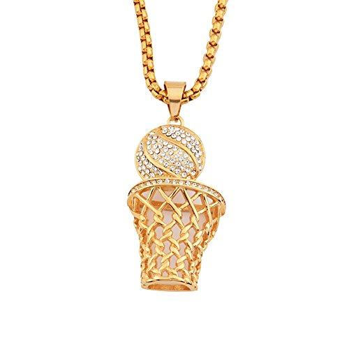 MCSAYS Gold Plated Necklace Iced Out Crystal Slam Dunk Basketball Net Pendant 70cm