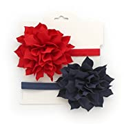 My Lello Baby Petal Flower Headbands Mixed Colors 2-Pack (Red/Navy)